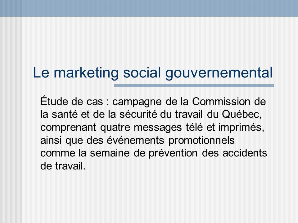 Le marketing social gouvernemental Le marketing social gouvernemental constitue un processus planifié visant à susciter des changements de comportements.