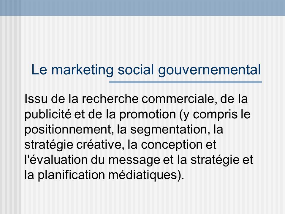 Le marketing social gouvernemental Issu de la recherche commerciale, de la publicité et de la promotion (y compris le positionnement, la segmentation,