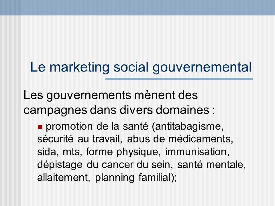 Le marketing social gouvernemental Les gouvernements mènent des campagnes dans divers domaines : promotion de la santé (antitabagisme, sécurité au tra