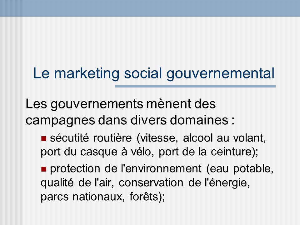 Le marketing social gouvernemental Les gouvernements mènent des campagnes dans divers domaines : éducation (alphabétisation, contre le décrochage, études en région); économie (relance du perfectionnement et de la formation, mesures pour attirer les investisseurs);