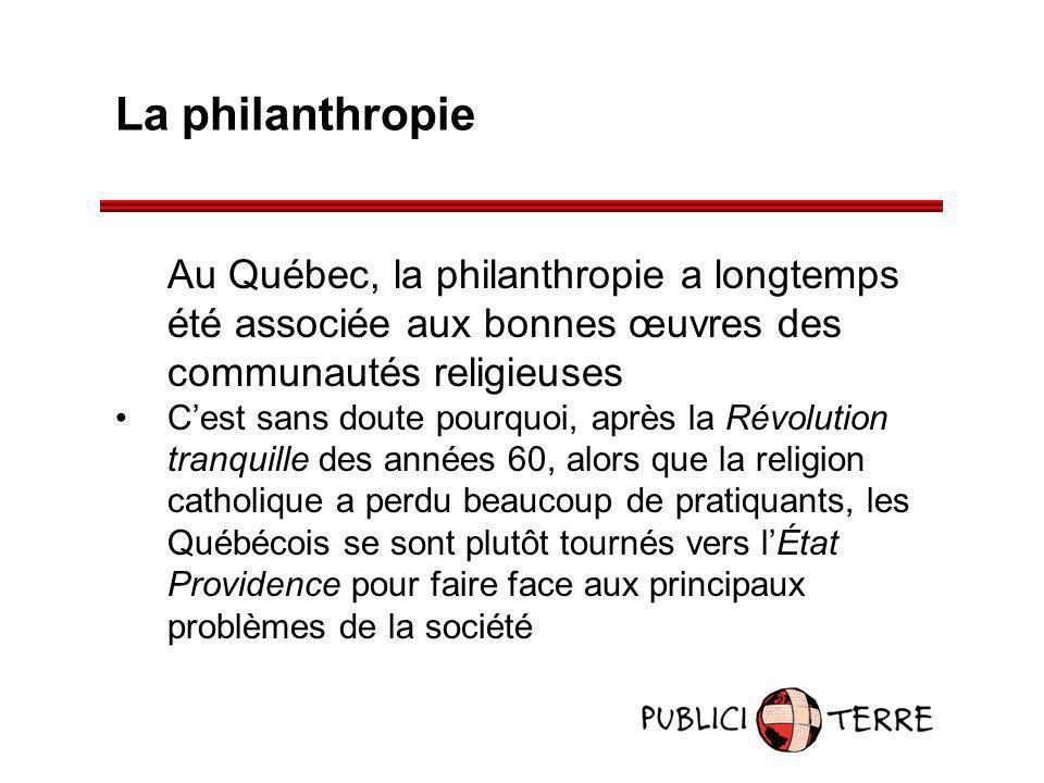 La philanthropie Au Québec, la philanthropie a longtemps été associée aux bonnes œuvres des communautés religieuses Cest sans doute pourquoi, après la
