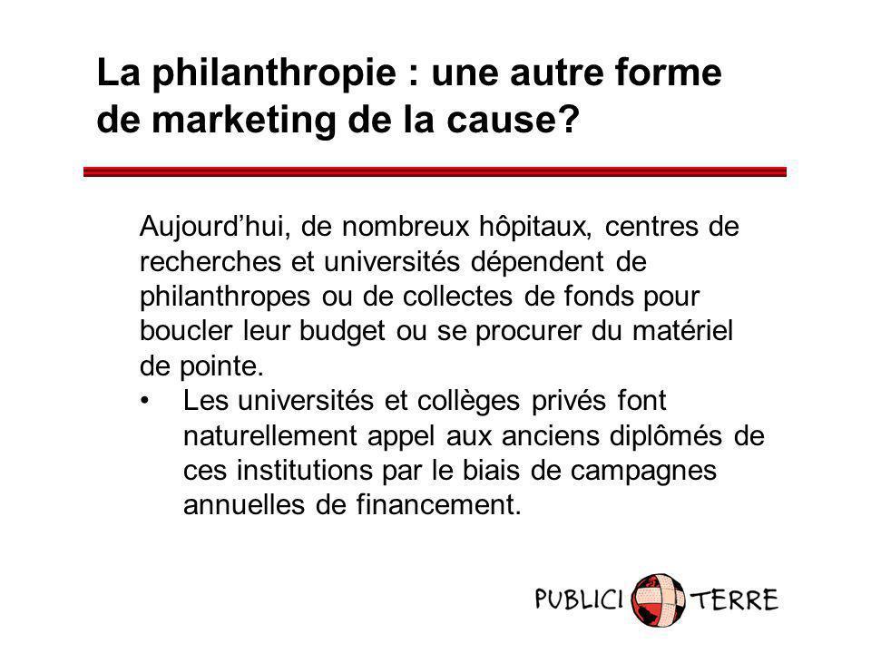 La philanthropie : une autre forme de marketing de la cause? Aujourdhui, de nombreux hôpitaux, centres de recherches et universités dépendent de phila