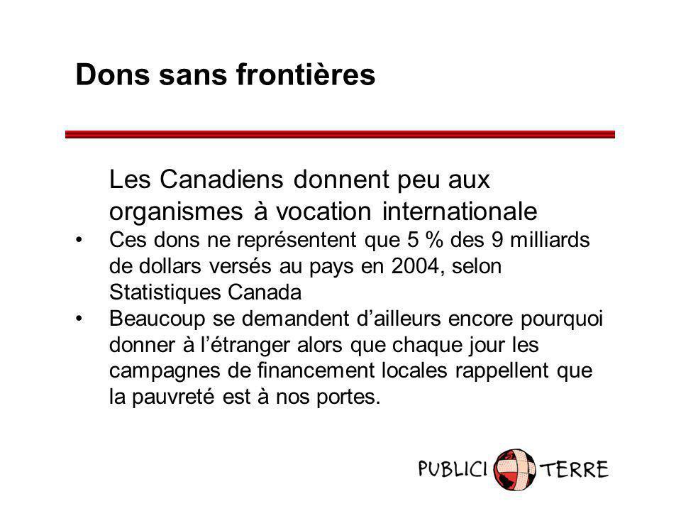 Dons sans frontières Les Canadiens donnent peu aux organismes à vocation internationale Ces dons ne représentent que 5 % des 9 milliards de dollars ve