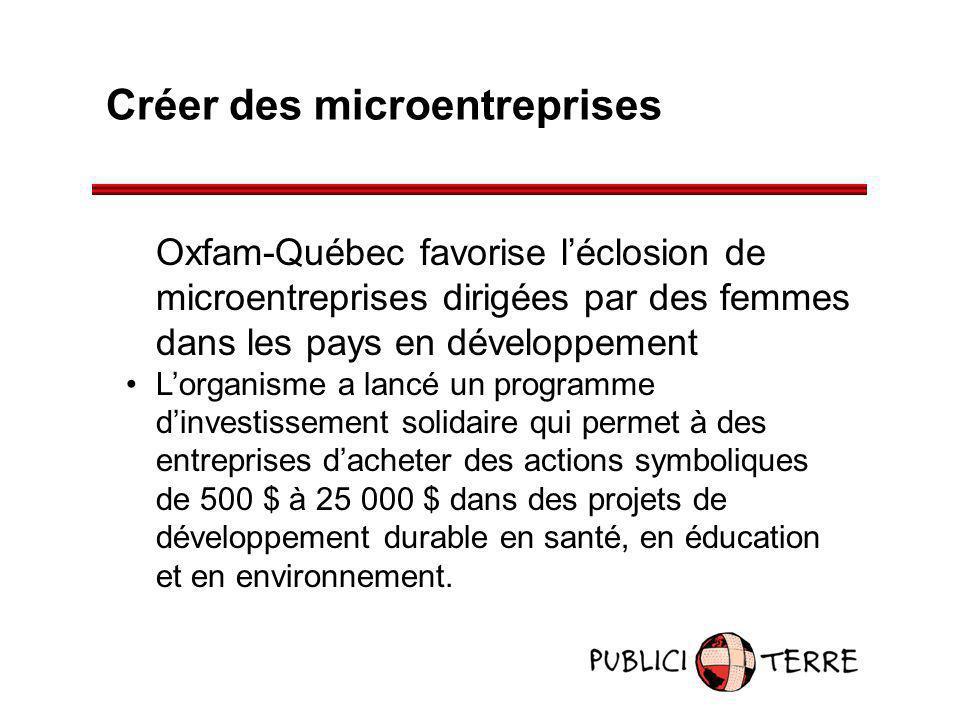 Créer des microentreprises Oxfam-Québec favorise léclosion de microentreprises dirigées par des femmes dans les pays en développement Lorganisme a lan