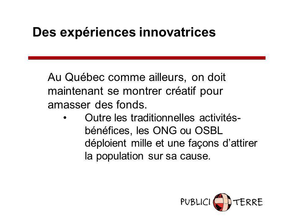 Des expériences innovatrices Au Québec comme ailleurs, on doit maintenant se montrer créatif pour amasser des fonds. Outre les traditionnelles activit