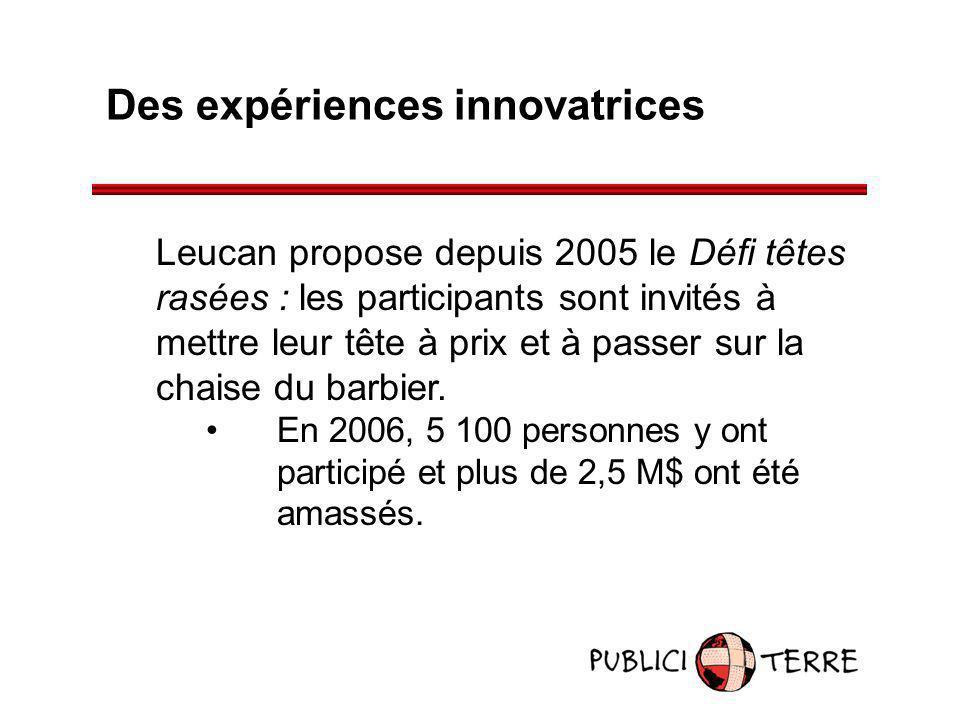 Des expériences innovatrices Leucan propose depuis 2005 le Défi têtes rasées : les participants sont invités à mettre leur tête à prix et à passer sur