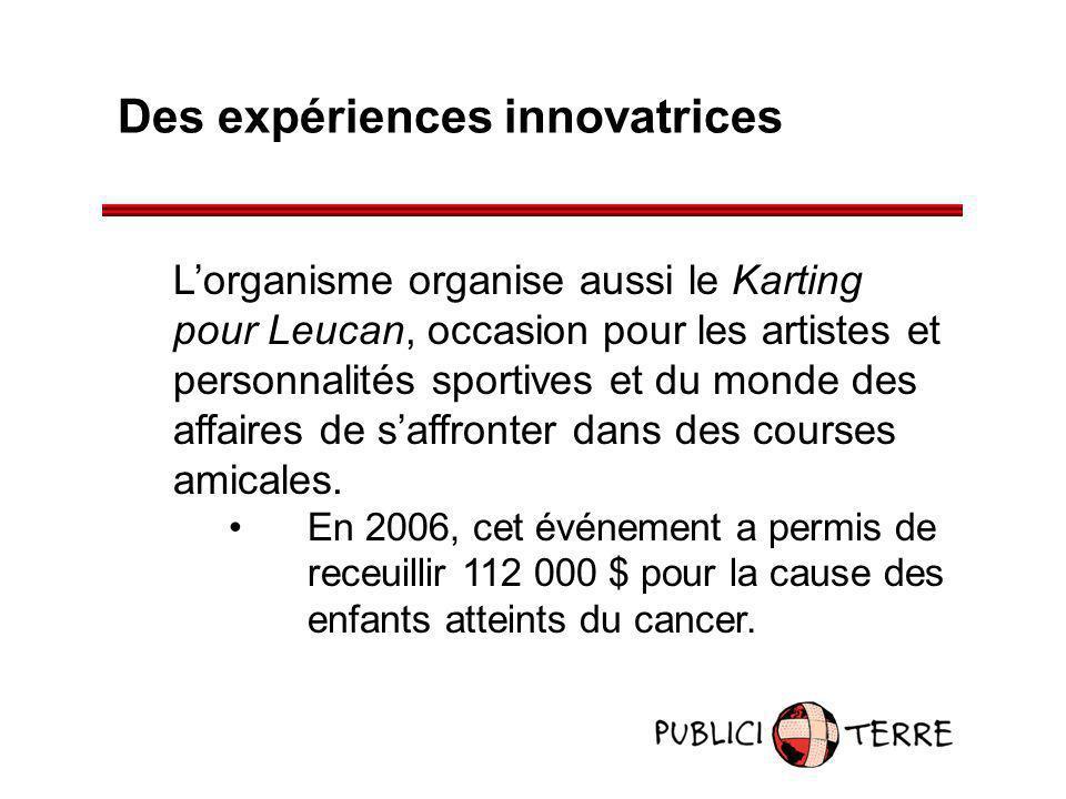Des expériences innovatrices Lorganisme organise aussi le Karting pour Leucan, occasion pour les artistes et personnalités sportives et du monde des a