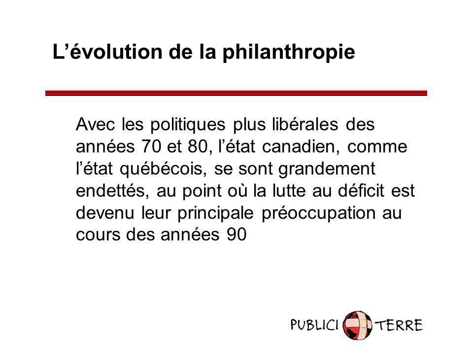 Lévolution de la philanthropie Avec les politiques plus libérales des années 70 et 80, létat canadien, comme létat québécois, se sont grandement endet
