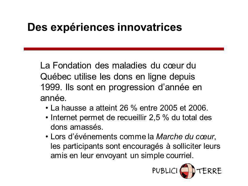 Des expériences innovatrices La Fondation des maladies du cœur du Québec utilise les dons en ligne depuis 1999. Ils sont en progression dannée en anné