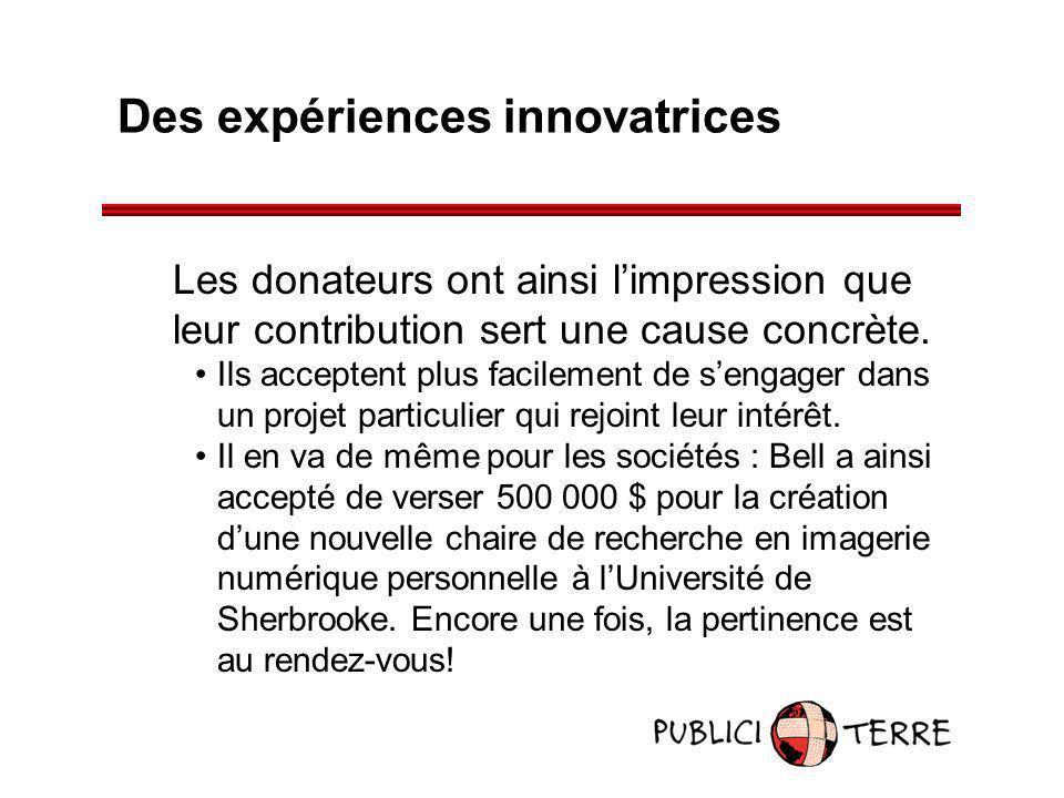 Des expériences innovatrices Les donateurs ont ainsi limpression que leur contribution sert une cause concrète. Ils acceptent plus facilement de senga