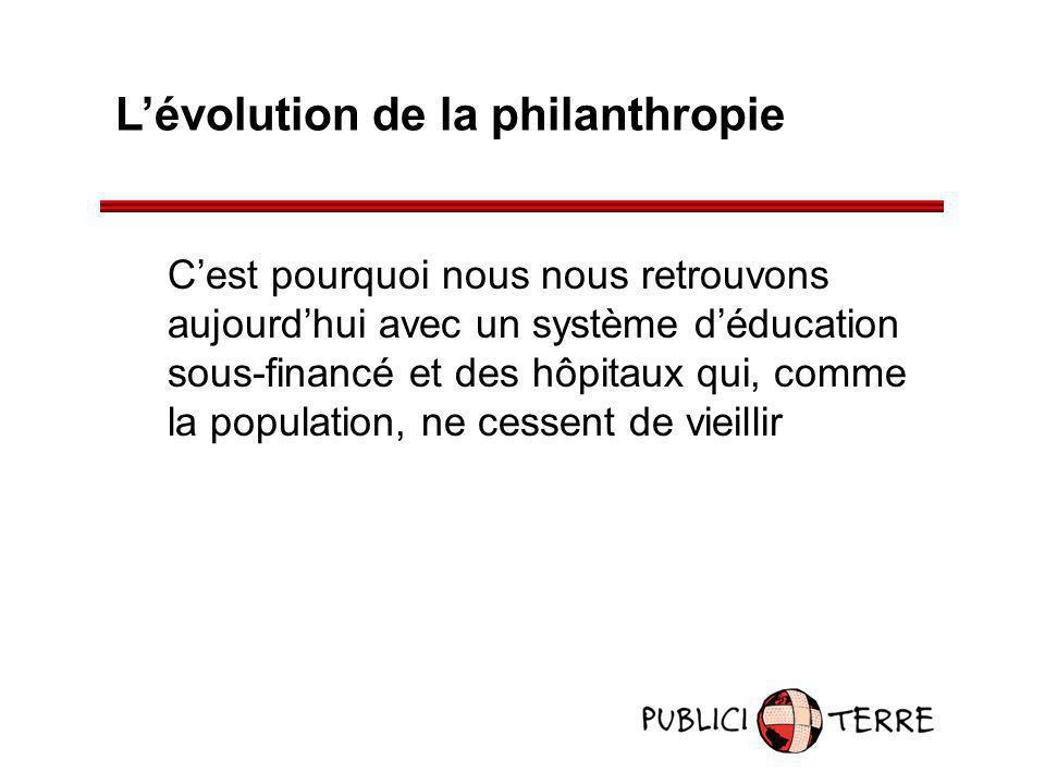 Lévolution de la philanthropie Cest pourquoi nous nous retrouvons aujourdhui avec un système déducation sous-financé et des hôpitaux qui, comme la pop