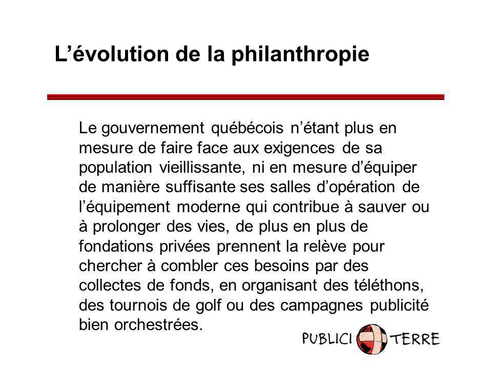 Lévolution de la philanthropie Le gouvernement québécois nétant plus en mesure de faire face aux exigences de sa population vieillissante, ni en mesur