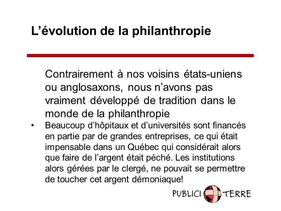 Lévolution de la philanthropie Contrairement à nos voisins états-uniens ou anglosaxons, nous navons pas vraiment développé de tradition dans le monde
