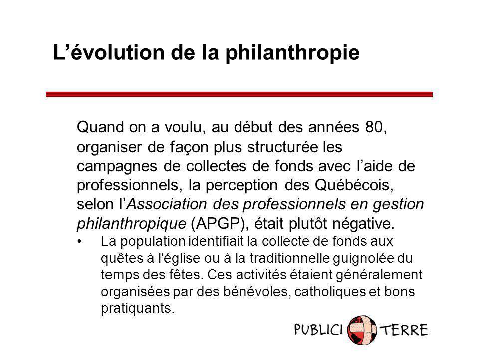 Lévolution de la philanthropie Quand on a voulu, au début des années 80, organiser de façon plus structurée les campagnes de collectes de fonds avec l