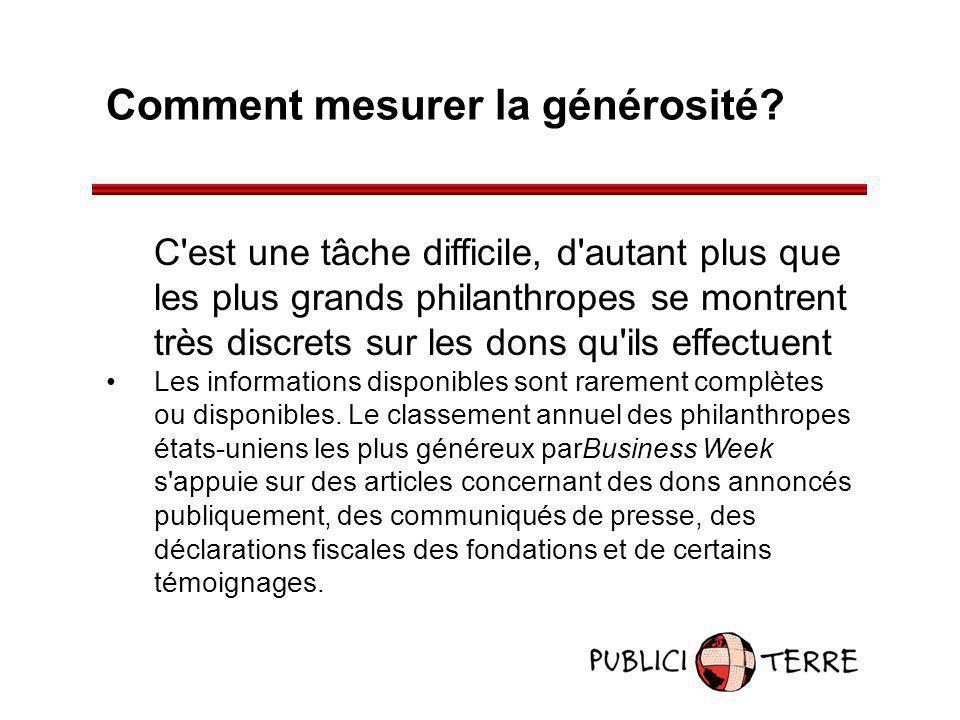 Comment mesurer la générosité? C'est une tâche difficile, d'autant plus que les plus grands philanthropes se montrent très discrets sur les dons qu'il