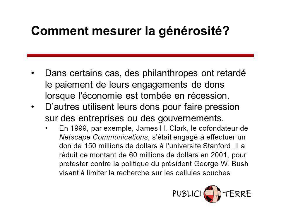 Comment mesurer la générosité? Dans certains cas, des philanthropes ont retardé le paiement de leurs engagements de dons lorsque l'économie est tombée