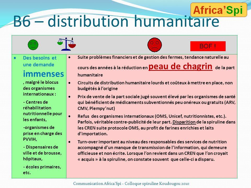 B5 – Commercialisation de la spiruline africaine vers lEurope Possibilité déquilibrer les budgets dexploitation des fermes et de financer les parts hu