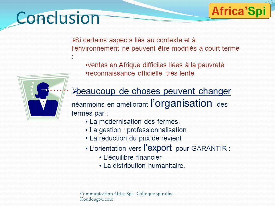 Résumons nous… Communication Africa'Spi - Colloque spiruline Koudougou 2010