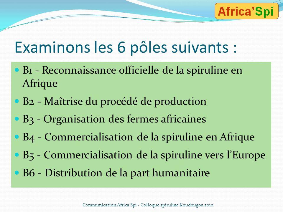 Examinons les 6 pôles suivants : B1 - Reconnaissance officielle de la spiruline en Afrique B2 - Maîtrise du procédé de production B3 - Organisation des fermes africaines B4 - Commercialisation de la spiruline en Afrique B5 - Commercialisation de la spiruline vers lEurope B6 - Distribution de la part humanitaire Communication Africa Spi - Colloque spiruline Koudougou 2010