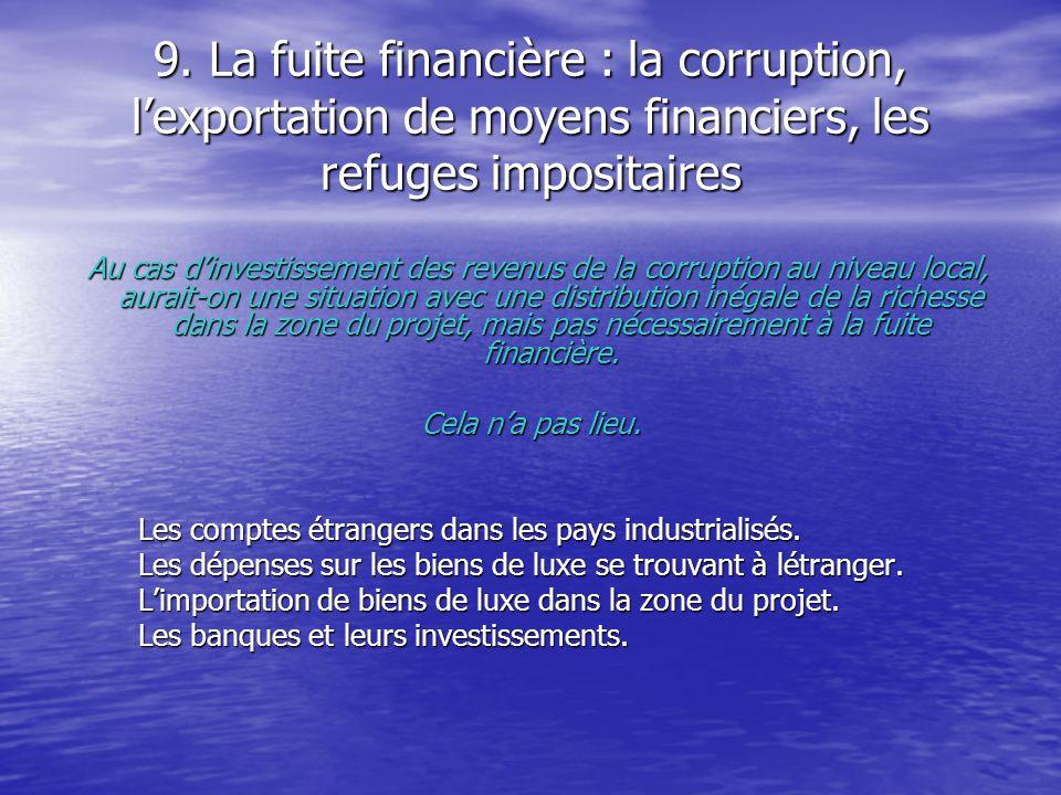 9. La fuite financière : la corruption, lexportation de moyens financiers, les refuges impositaires Au cas dinvestissement des revenus de la corruptio