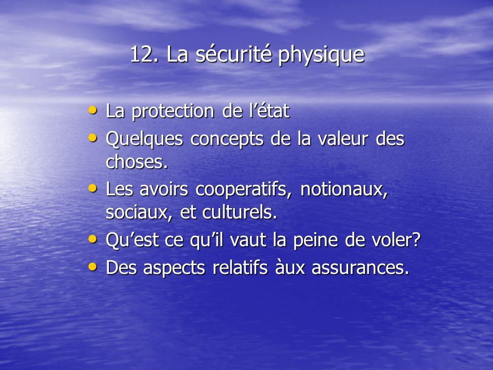 12. La sécurité physique La protection de létat La protection de létat Quelques concepts de la valeur des choses. Quelques concepts de la valeur des c
