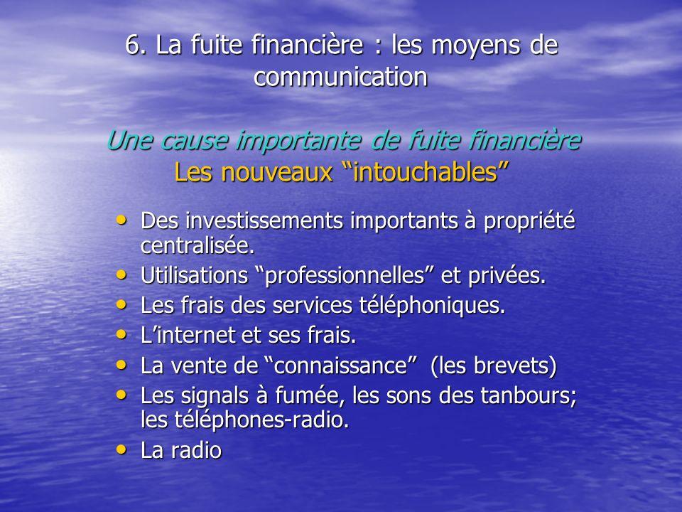 6. La fuite financière : les moyens de communication Une cause importante de fuite financière Les nouveaux intouchables Des investissements importants