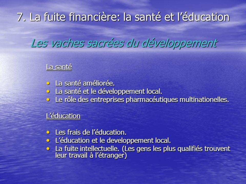 7. La fuite financière: la santé et léducation Les vaches sacrées du développement La santé La santé améliorée. La santé améliorée. La santé et le dév