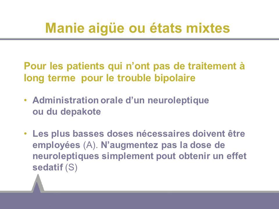 Manie aigüe ou états mixtes Pour les patients qui nont pas de traitement à long terme pour le trouble bipolaire Administration orale dun neuroleptique