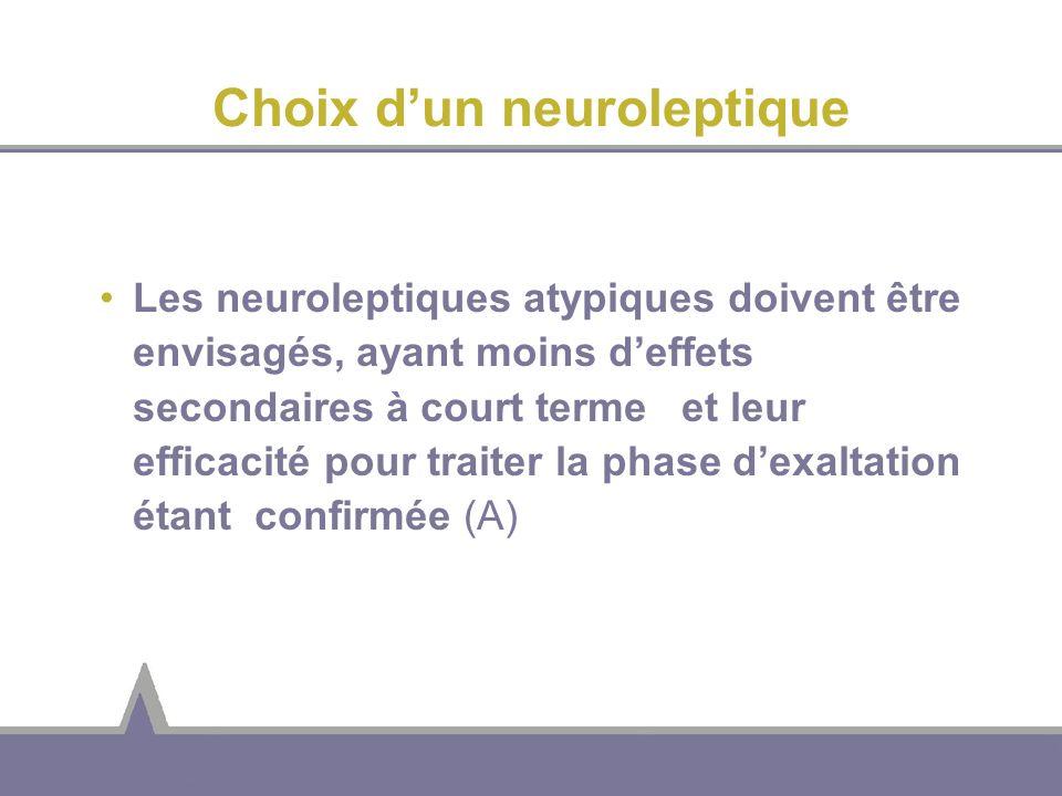 Choix dun neuroleptique Les neuroleptiques atypiques doivent être envisagés, ayant moins deffets secondaires à court terme et leur efficacité pour tra