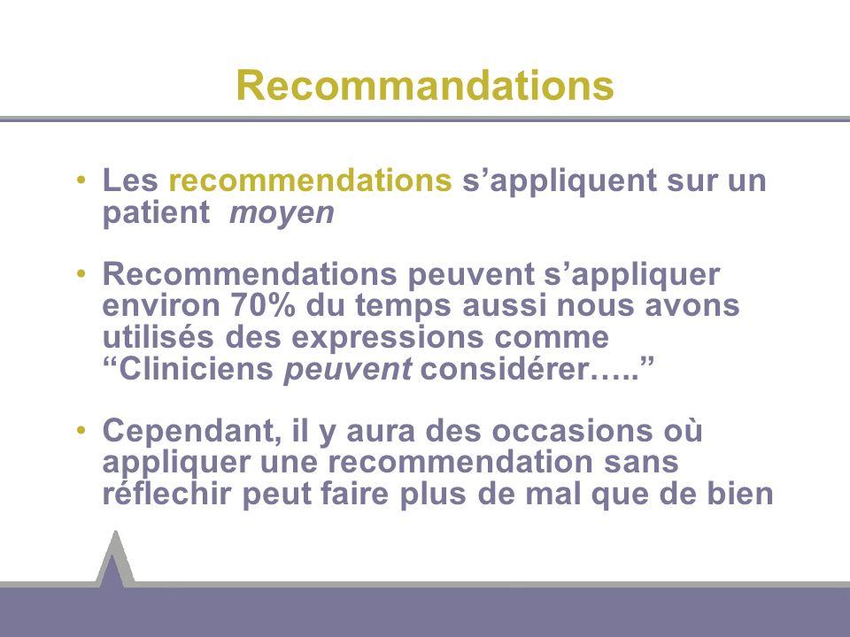 Recommandations Les recommendations sappliquent sur un patient moyen Recommendations peuvent sappliquer environ 70% du temps aussi nous avons utilisés