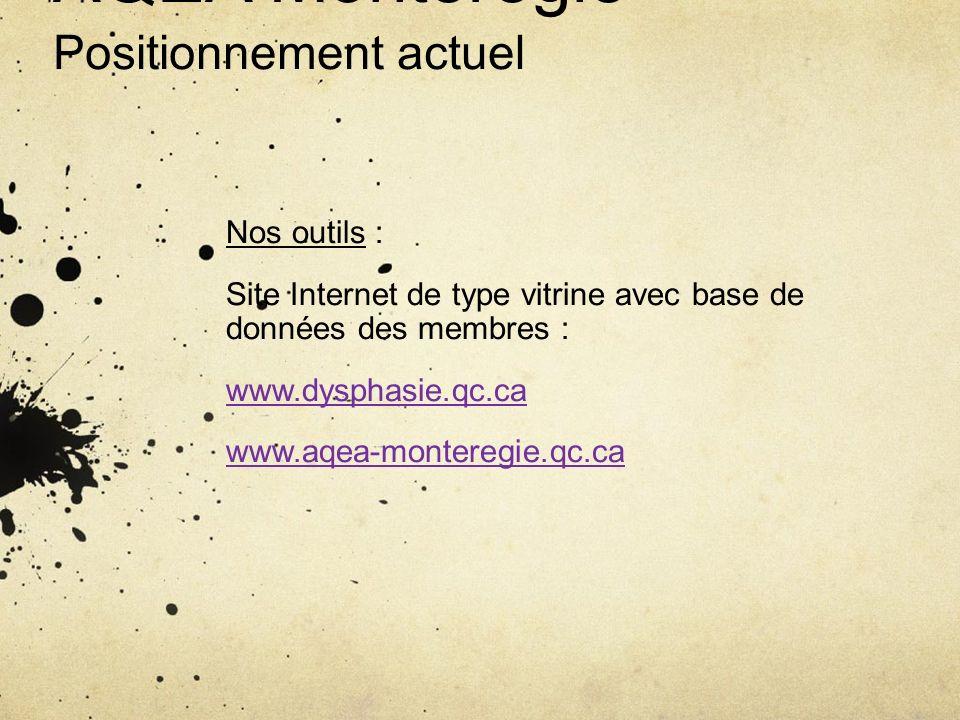 AQEA Montérégie Positionnement actuel Nos outils : Site Internet de type vitrine avec base de données des membres : www.dysphasie.qc.ca www.aqea-monte