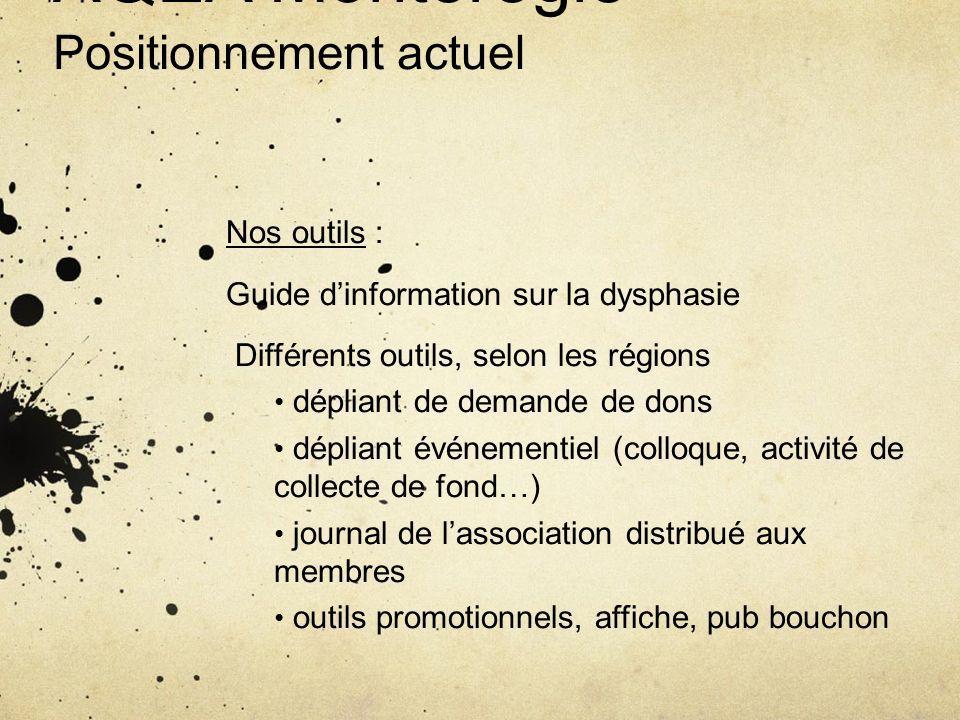 AQEA Montérégie Positionnement actuel Nos outils : Guide dinformation sur la dysphasie Différents outils, selon les régions dépliant de demande de don