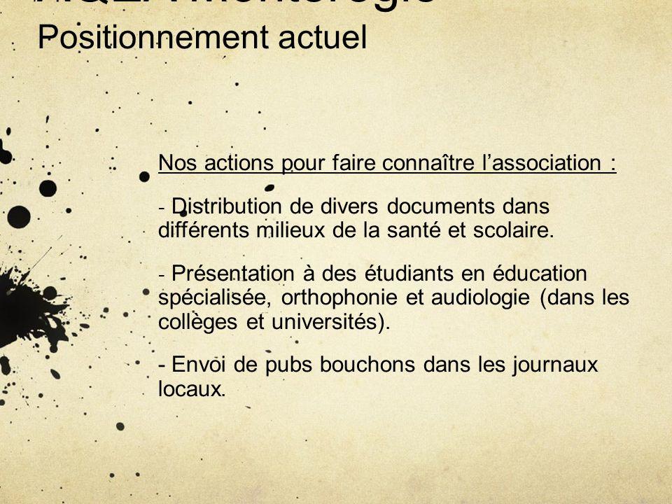 AQEA Montérégie Positionnement actuel Nos actions pour faire connaître lassociation : - Distribution de divers documents dans différents milieux de la