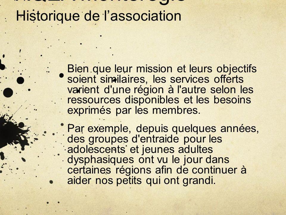 AQEA Montérégie Historique de lassociation Bien que leur mission et leurs objectifs soient similaires, les services offerts varient d'une région à l'a