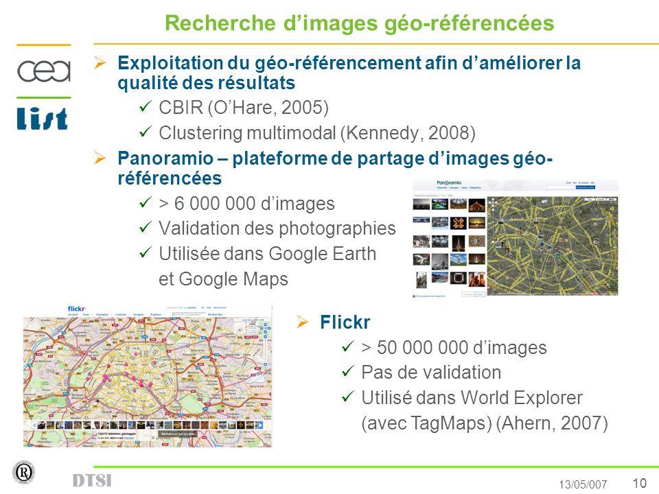 10 13/05/007 DTSI Recherche dimages géo-référencées Exploitation du géo-référencement afin daméliorer la qualité des résultats CBIR (OHare, 2005) Clus