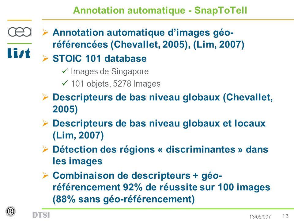 13 13/05/007 DTSI Annotation automatique - SnapToTell Annotation automatique dimages géo- référencées (Chevallet, 2005), (Lim, 2007) STOIC 101 databas
