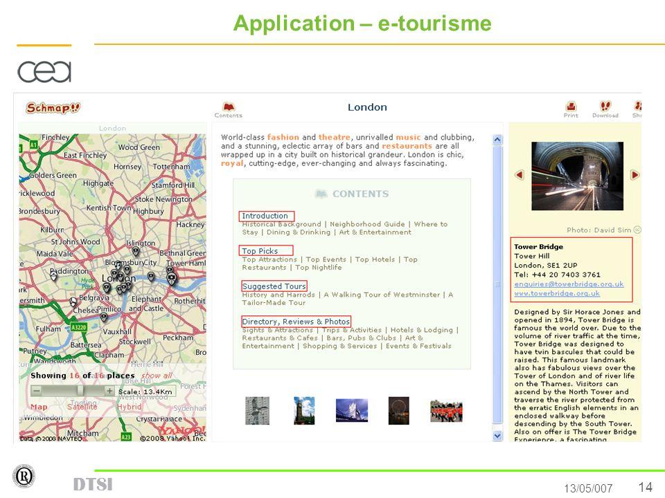 14 13/05/007 DTSI Application – e-tourisme