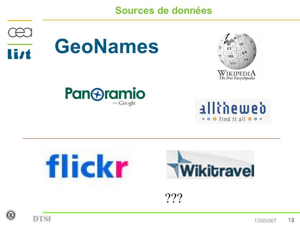 18 13/05/007 DTSI Sources de données GeoNames ???