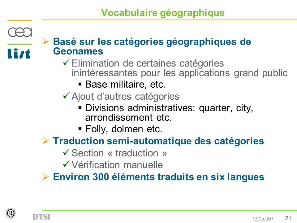 21 13/05/007 DTSI Vocabulaire géographique Basé sur les catégories géographiques de Geonames Elimination de certaines catégories inintéressantes pour