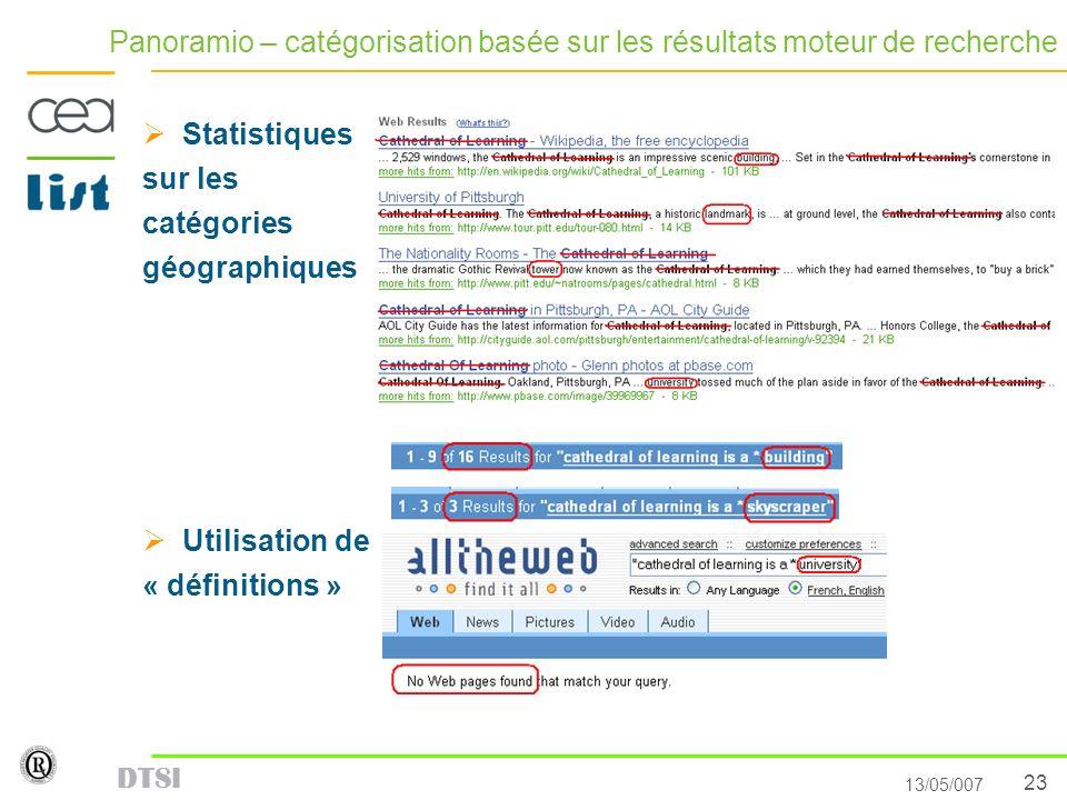 23 13/05/007 DTSI Panoramio – catégorisation basée sur les résultats moteur de recherche Statistiques sur les catégories géographiques Utilisation de