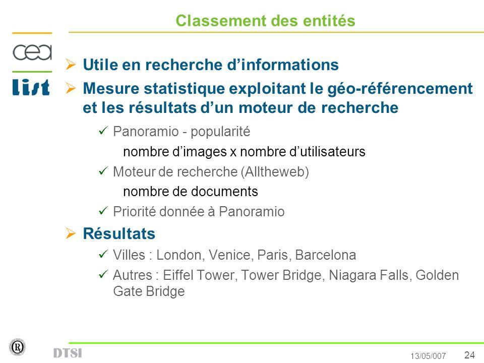 24 13/05/007 DTSI Classement des entités Utile en recherche dinformations Mesure statistique exploitant le géo-référencement et les résultats dun mote