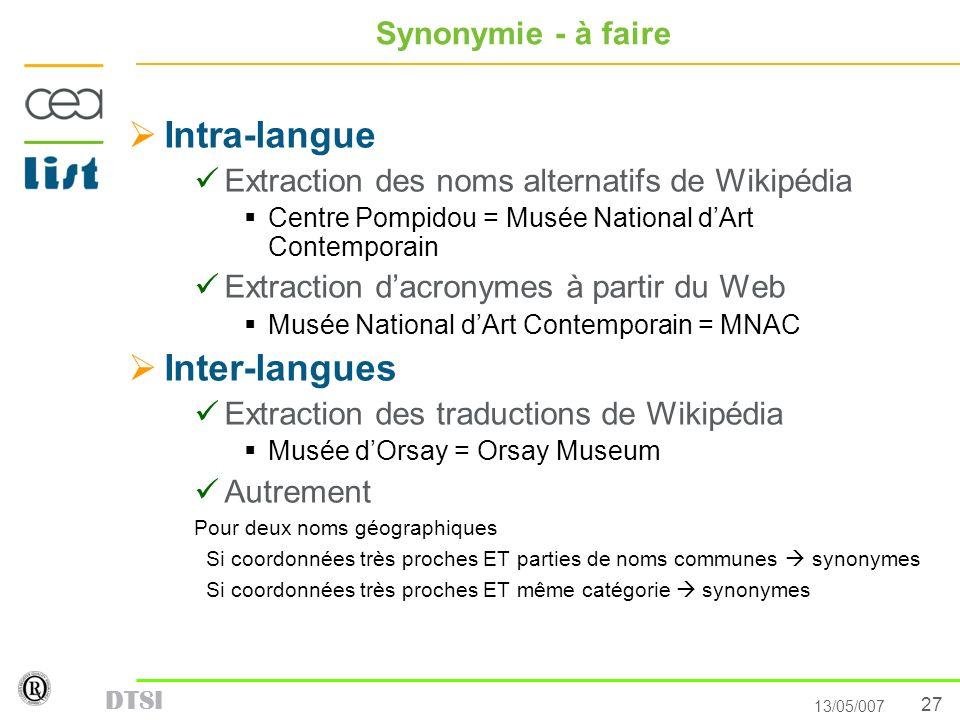 27 13/05/007 DTSI Synonymie - à faire Intra-langue Extraction des noms alternatifs de Wikipédia Centre Pompidou = Musée National dArt Contemporain Ext