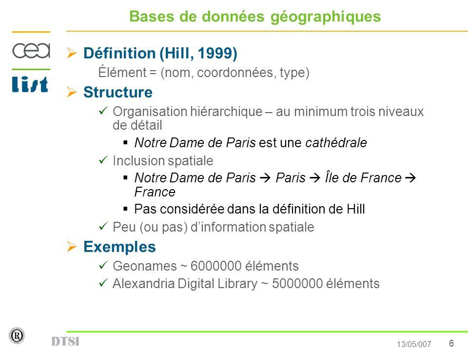6 13/05/007 DTSI Bases de données géographiques Définition (Hill, 1999) Élément = (nom, coordonnées, type) Structure Organisation hiérarchique – au mi