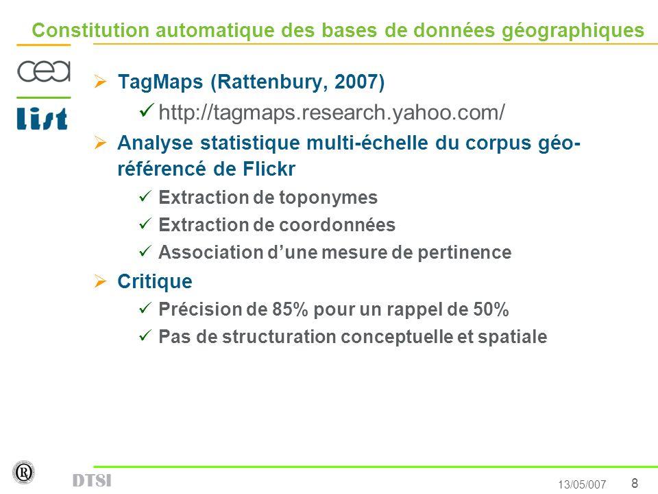 8 13/05/007 DTSI Constitution automatique des bases de données géographiques TagMaps (Rattenbury, 2007) http://tagmaps.research.yahoo.com/ Analyse sta