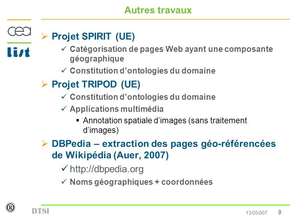9 13/05/007 DTSI Autres travaux Projet SPIRIT (UE) Catégorisation de pages Web ayant une composante géographique Constitution dontologies du domaine P