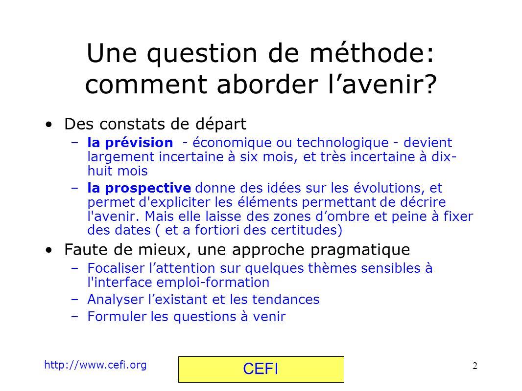 http://www.cefi.org CEFI 2 Une question de méthode: comment aborder lavenir? Des constats de départ –la prévision - économique ou technologique - devi
