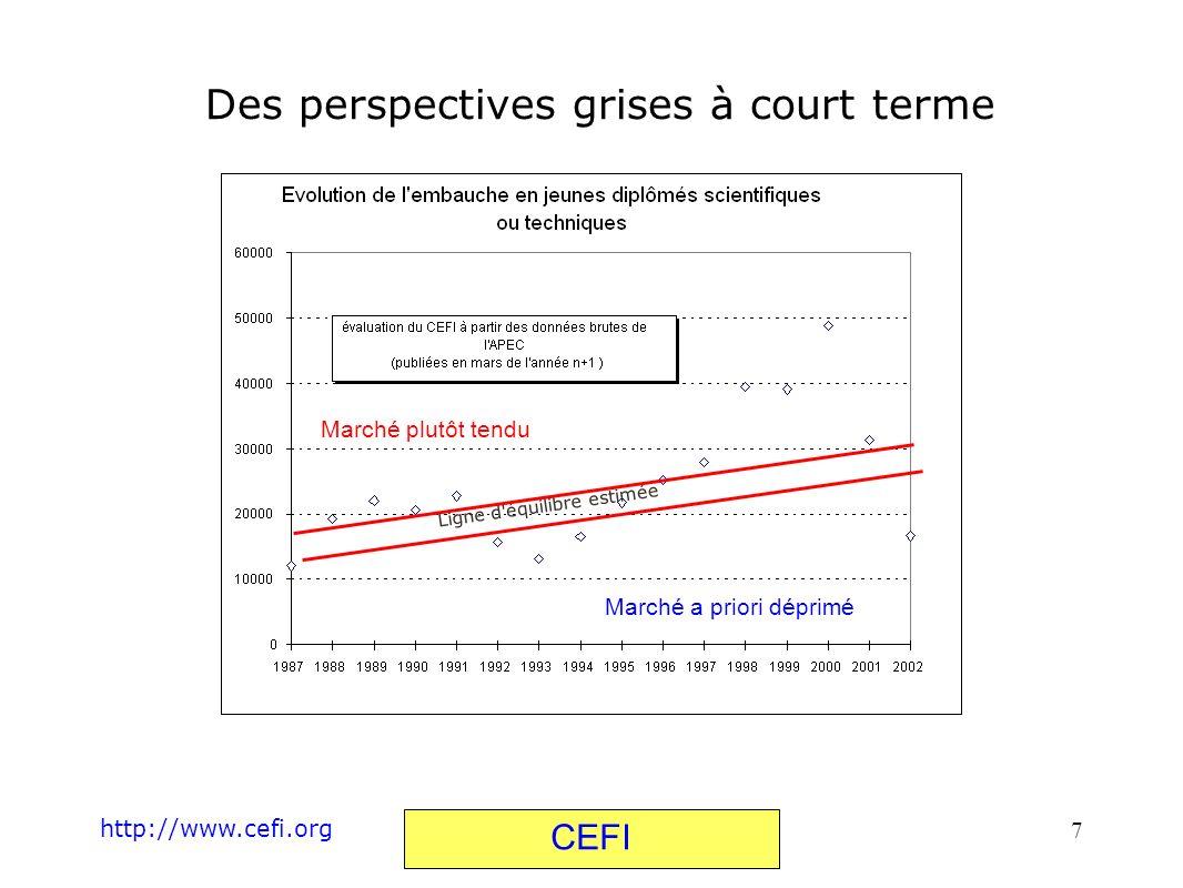 http://www.cefi.org CEFI 7 Des perspectives grises à court terme Ligne d'équilibre estimée Marché plutôt tendu Marché a priori déprimé