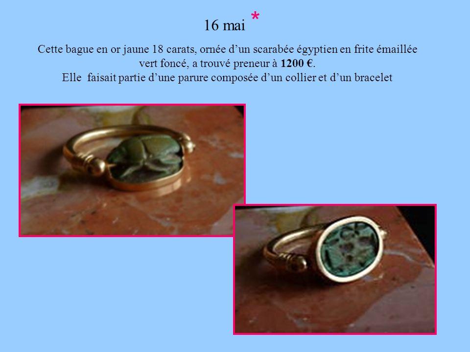 16 mai * Cette bague en or jaune 18 carats, ornée dun scarabée égyptien en frite émaillée vert foncé, a trouvé preneur à 1200. Elle faisait partie dun