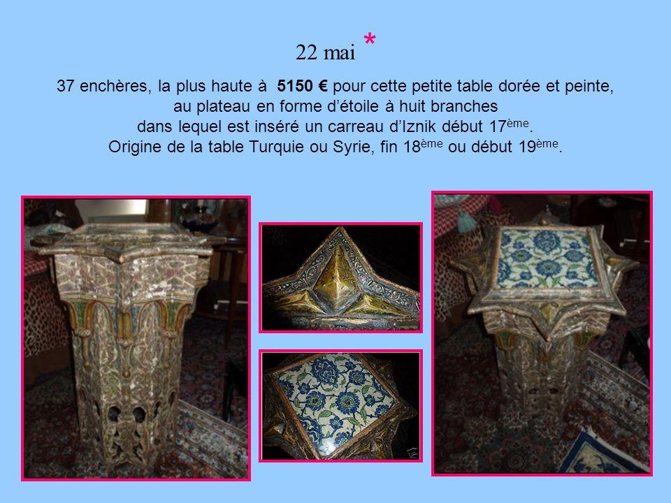 22 mai * 37 enchères, la plus haute à 5150 pour cette petite table dorée et peinte, au plateau en forme détoile à huit branches dans lequel est inséré