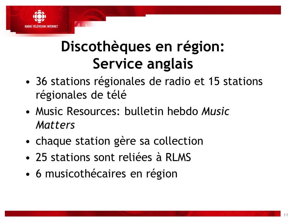 11 Discothèques en région: Service anglais 36 stations régionales de radio et 15 stations régionales de télé Music Resources: bulletin hebdo Music Mat
